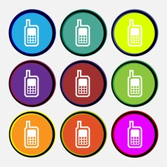 Mobile phone icon sign Nine multi colored round vector image