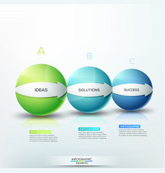 Modern infographic design layout 3 lettered vector