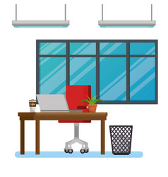 office workplace scene icons vector image