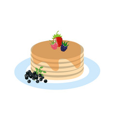 Pancakes with beries healthy breakfast vector