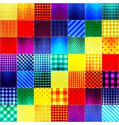 Patchwork of fabric in rainbow colors vector
