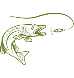 pike and lure design template vector image