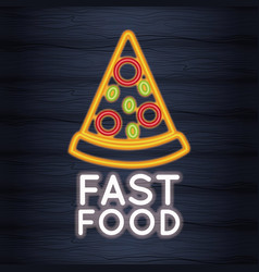pizza fast food neon lights vector image