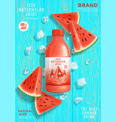 Promo banner with iced watermelon juice vector