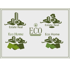 Real estate logo eco home vector image