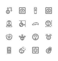 robot vacuum cleaners - flat line icons vector image