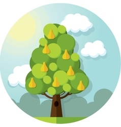 Round pattern pear tree in the clouds and vector