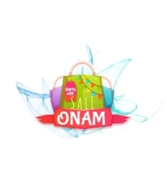 Sale Onam banner with packet and ribbon vector image