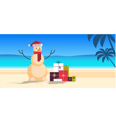 Sandy christmas snowman with gift present boxes vector