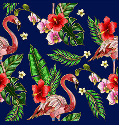 Seamless pattern with flamingo embroidery vector