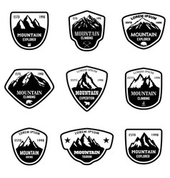 set mountain tourism hiking emblems design vector image
