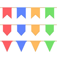 set of garlands with celebration flags chain vector image