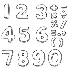 set of number vector image