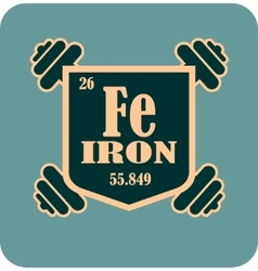 Shield with iron text and dumbbells vector image