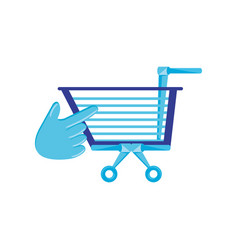 shopping cart with pointer hand vector image