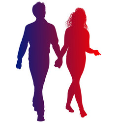 silhouette of guy and girl going hand in hand vector image