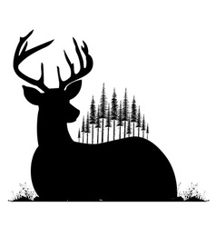 Silhouette of lying deer and fir trees on his back vector image