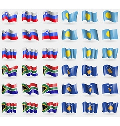 Slovenia Palau South Africa Kosovo Set of 36 flags vector