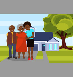 smiling afro american black family posing on the vector image
