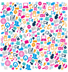 social media pattern icons vector image
