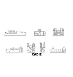 Spain cadiz line travel skyline set spain cadiz vector