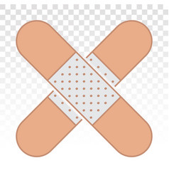 Sticking plaster bandage flat color icon for app vector