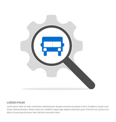 Truck icon search glass with gear symbol icon vector