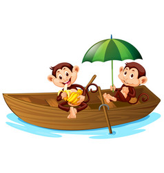 two monkeys rowing a boat on white background vector image