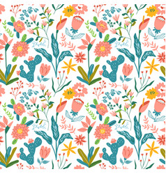 vintage hand drawn flower seamless pattern vector image