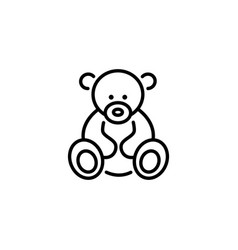 Web line icon teddy bear children toy vector