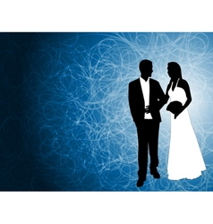 Wedding couple blue background vector