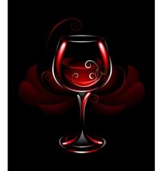 Wineglass red wine vector