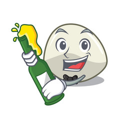 With beer mozzarella cheese isolated on mascot vector