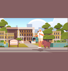 woman walking with dog and cat female owner vector image