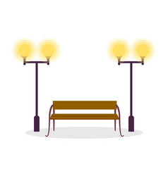 Wooden standard bench and two street lamp isolated vector