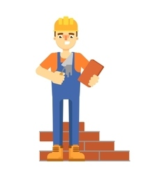 Bricklayer in uniform isolated on white background vector image vector image