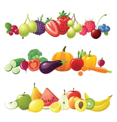 fruits vegetables and berries borders vector image