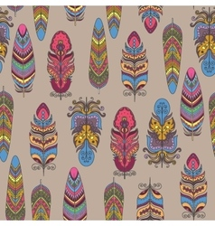 Seamless Pattern with Feather Boho Style vector image