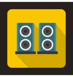 Two audio speakers boxes icon flat style vector image vector image