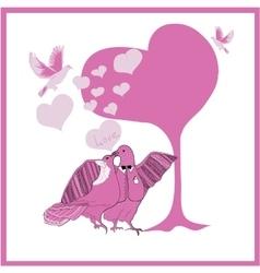 Wedding card couple fantastic doves vector image