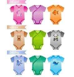 Baby clothes icon set with fashion girl boy and vector image vector image