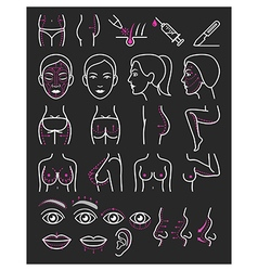 Cosmetic plastic surgery icons vector image vector image