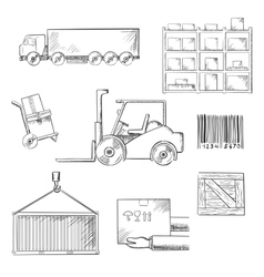 Delivery and shipping sketch icons vector image vector image