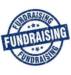 Fundraising blue round grunge stamp vector