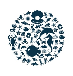 sealife icons in circle vector image vector image