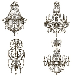 set of four chandelier drawings vector image vector image