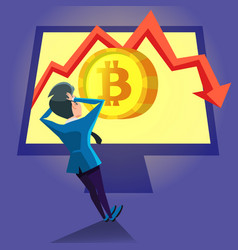 Shocked businessman looking on bitcoin crash graph vector
