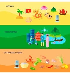 Vietnamese Culture Horizontal Flat Banners Set vector image