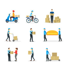 cartoon delivery workers set vector image vector image