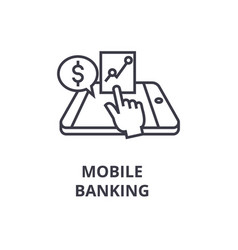 mobile banking line icon outline sign linear vector image vector image